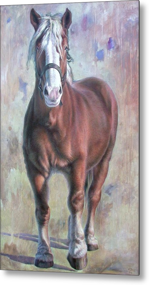 Horse Metal Print featuring the painting Arthur The Belgian Horse by Hans Droog