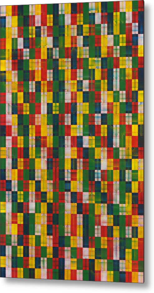 Abstract Pattern White Yellow Green Red Metal Print featuring the painting Fac5vertical by Joan De Bot