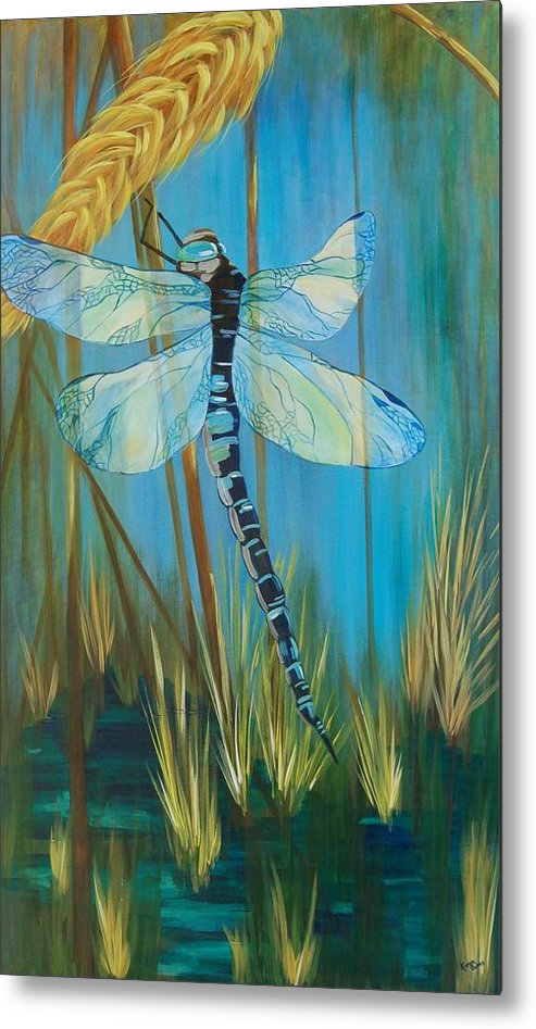 Dragonfly Metal Print featuring the painting Dragonfly Fantasy by Karen Dukes