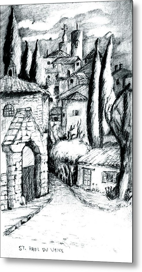 French Village Metal Print featuring the drawing French Village by Dan Earle