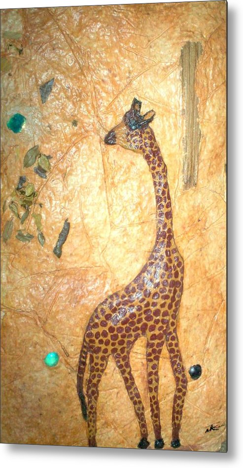 Giraffe Metal Print featuring the mixed media Giraffe  Sold by Tinsu Kasai