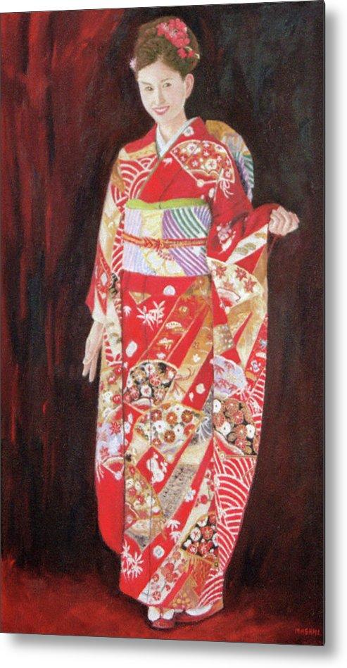 Portrait Metal Print featuring the painting Lady In Red Kimono by Masami Iida