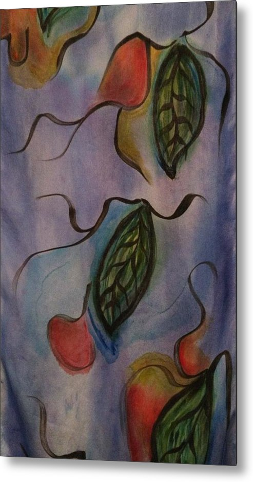 Metal Print featuring the painting Leaves On Silk by Evelyn Osgood