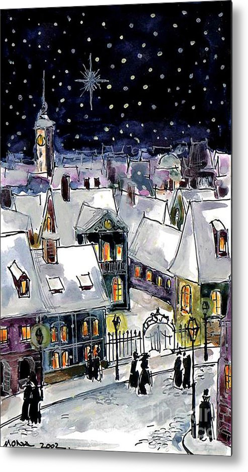Old Time Winter Metal Print featuring the painting Old Time Winter by Mona Edulesco