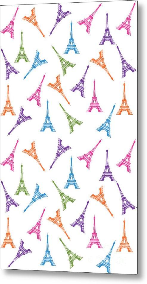 Paris Metal Print featuring the digital art Paris Eiffel Tower by Naviblue