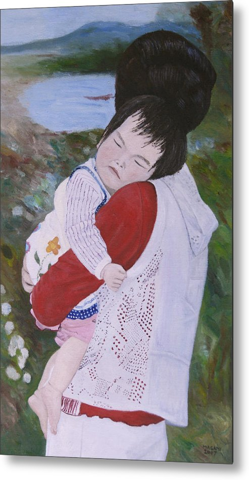 Portrait Metal Print featuring the painting Sleep by Masami Iida