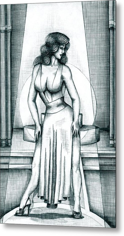 Figure Metal Print featuring the drawing The Performer by Scarlett Royal