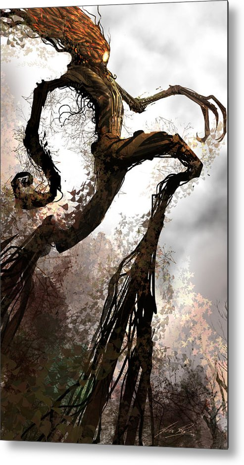 Concept Art Metal Print featuring the digital art Treeman by Alex Ruiz
