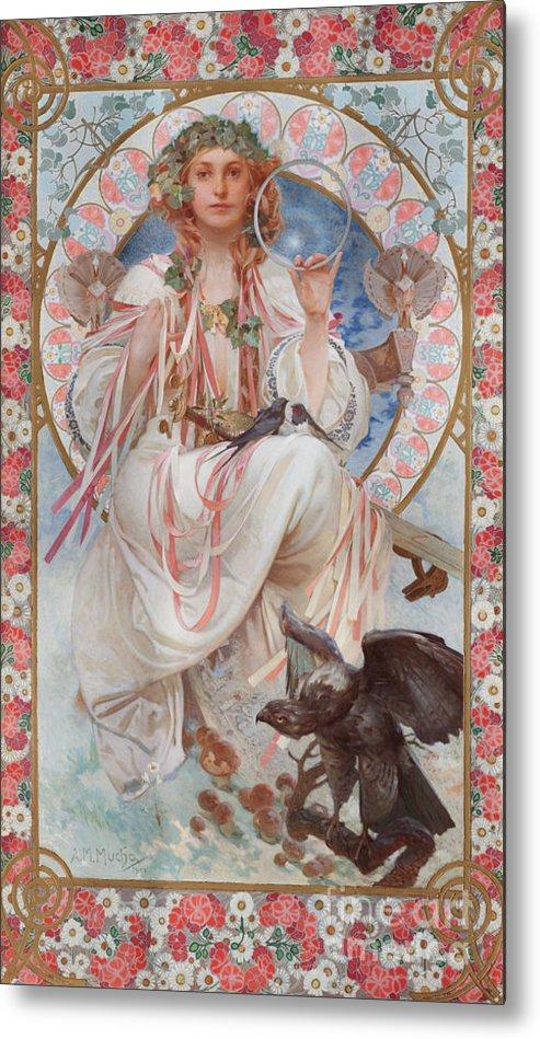 Mucha Metal Print featuring the painting Portrait Of Josephine Crane Bradley As Slavia by Alphonse Marie Mucha