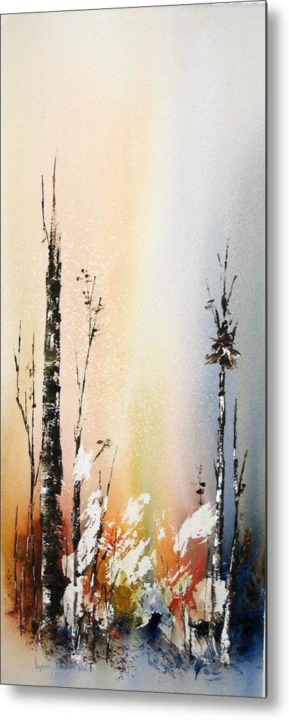 Snowey Scene Metal Print featuring the painting Cool Spring by Lynne Parker