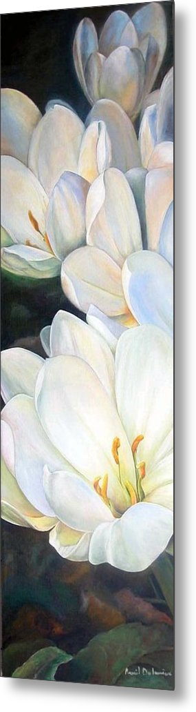 Floral Painting Metal Print featuring the painting Crocus by Muriel Dolemieux