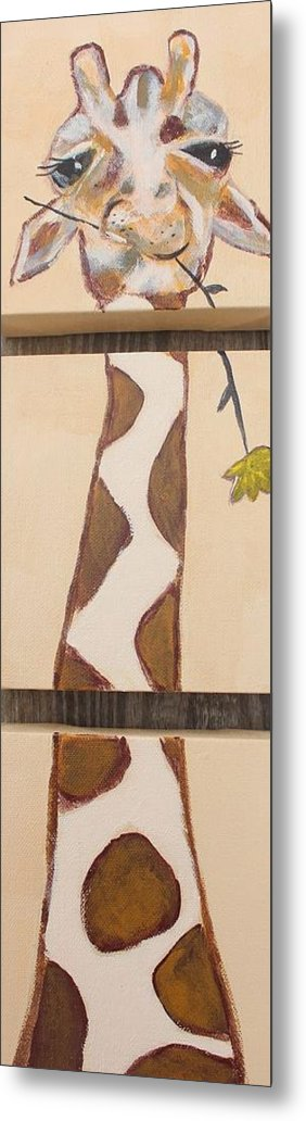 Girraffe Metal Print featuring the painting Giraffe by Jennifer Whitworth