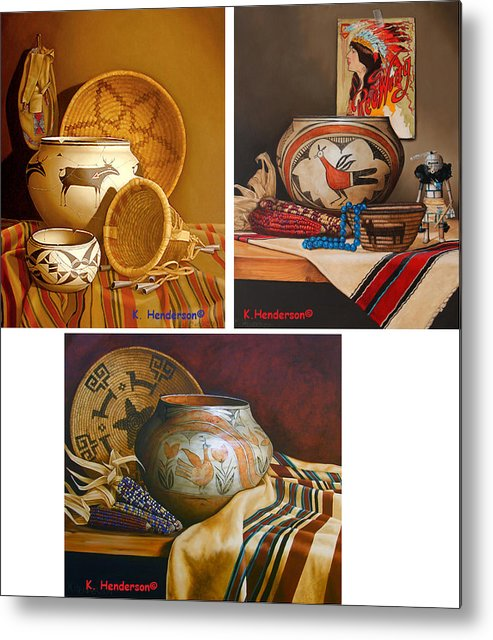 American Indian Metal Print featuring the painting American Indian Pottery By K Henderson by K Henderson