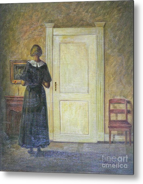 Oil Painting Art Metal Print featuring the painting classic oil painting art-The back of the girl #16-2-1-04 by Hongtao   Huang