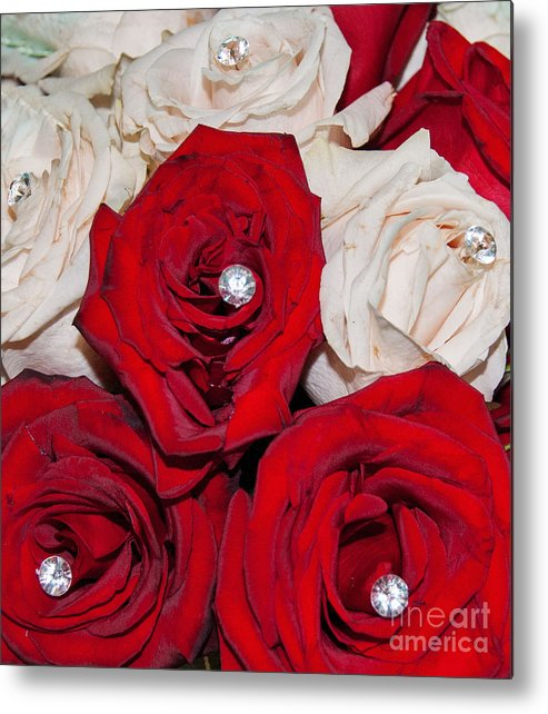 Roses And Diamonds Abstract Metal Print featuring the digital art Roses And Diamonds by Mae Wertz