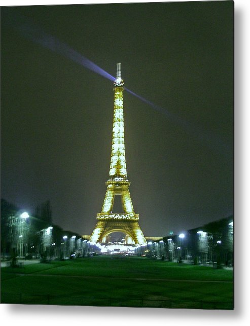 Paris Metal Print featuring the photograph Eiffel Tower At Night by Ellen Holmes