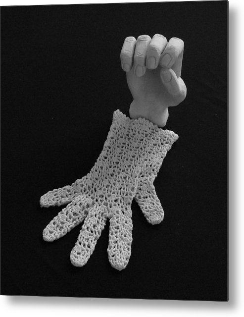 Sculpture Metal Print featuring the sculpture Hand And Glove by Barbara St Jean