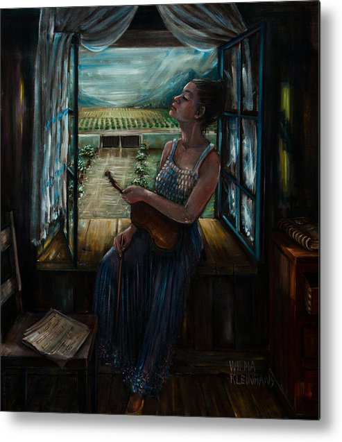 Girl With Violin In Window. Metal Print featuring the painting Violin And Winelands by Wilma Kleinhans