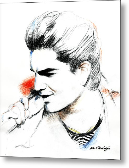 Adam Lambert Metal Print featuring the drawing Adam Lambert by Lin Petershagen