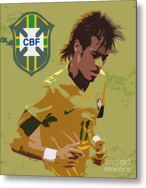 Lee Dos Santos Metal Print featuring the photograph Neymar Art Deco by Lee Dos Santos