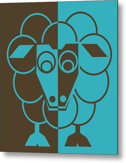 Heep Metal Print featuring the painting Sleep-sheep - Lonvig By Minymo by Asbjorn Lonvig