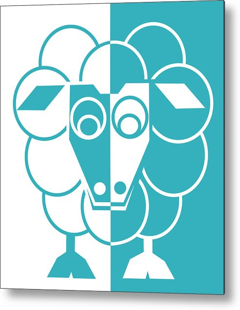 Sheep Metal Print featuring the painting Sleep-sheep - Lonvig By Minymo by Asbjorn Lonvig