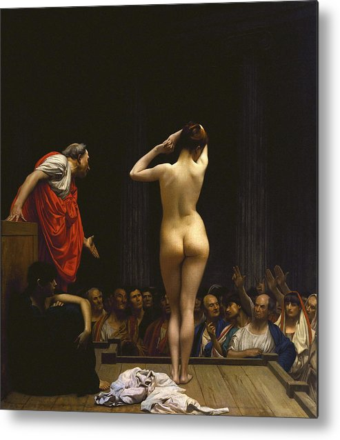Art Metal Print featuring the painting A Roman Slave Market by Jean - Leon Gerome