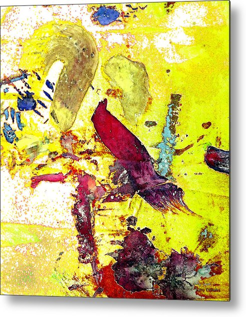 Bird Metal Print featuring the photograph Abstract Bird On Yellow by Lawrence Costales