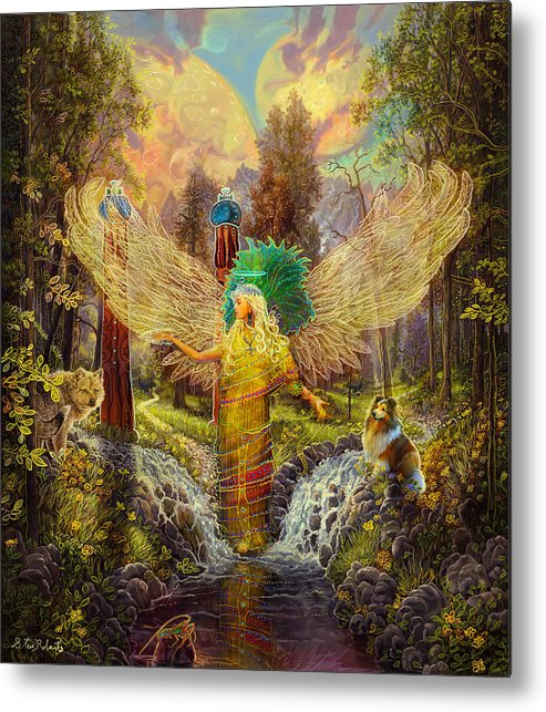 Angel Metal Print featuring the painting Archangel Haniel by Steve Roberts