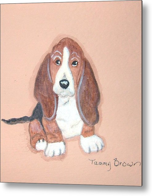 Basset Metal Print featuring the painting Baby Face by Tammy Brown