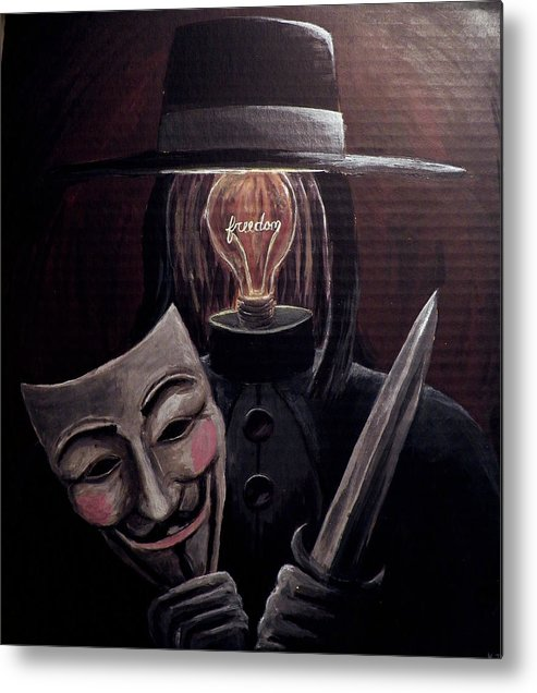 Freedom Metal Print featuring the painting Behind This Mask by Katelynn Johnston