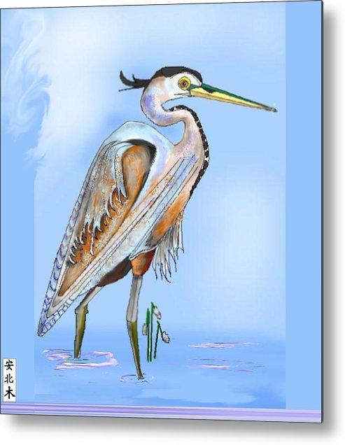 Blue Heron Metal Print featuring the painting Blue Heron In The Mist by Anne Norskog