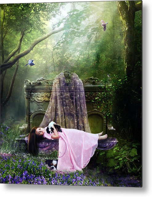 Girl Metal Print featuring the digital art Bluebell Dreams by Mary Hood