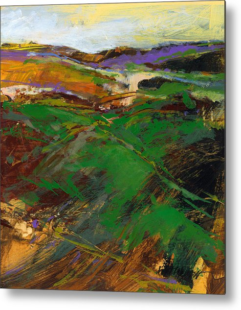Knife Painting Metal Print featuring the painting Cloud Farm by Dale Witherow