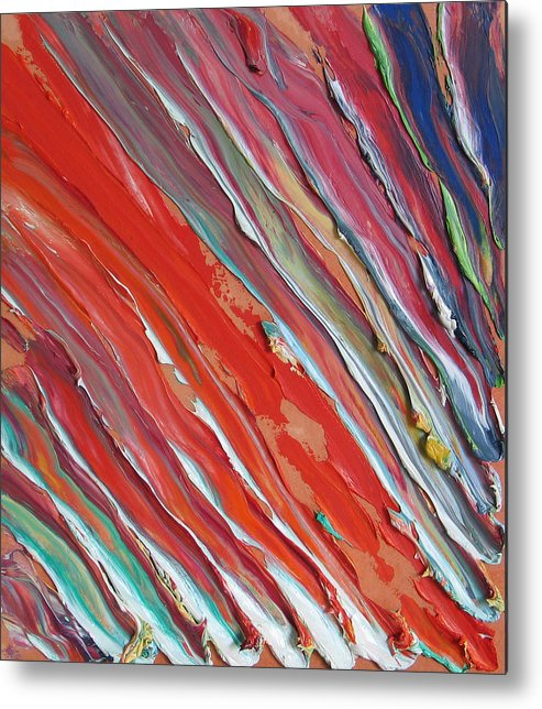 Abstract Metal Print featuring the painting Comet Tail. Colorful Painter Palette. Exhausted Paint And Abstract Painting. by Vitali Komarov