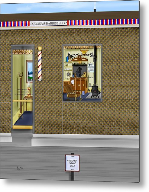 Townscape Metal Print featuring the painting Dugger's Barber Shop by Anne Norskog