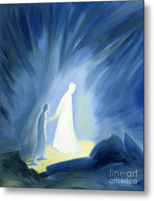 Light; Help; Guidance; Faith; Trust;catholic;catholicism;guiding;helping;aiding; Suffering; Caring; Spiritual; Savior;protector;love;bright;spiritual;religion;religious; Darkness Metal Print featuring the painting Even In The Darkness Of Out Sufferings Jesus Is Close To Us by Elizabeth Wang