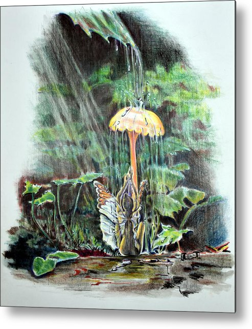 Fairy Metal Print featuring the drawing Fairy Shower by Susan Moore