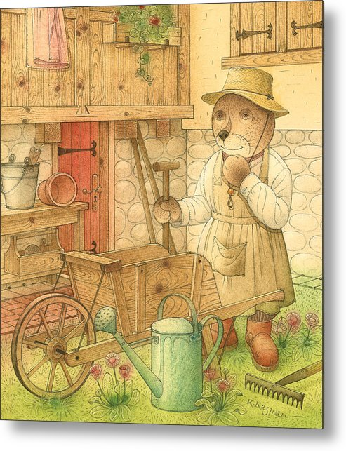 Bear Garden Flowers Metal Print featuring the painting Florentius The Gardener02 by Kestutis Kasparavicius