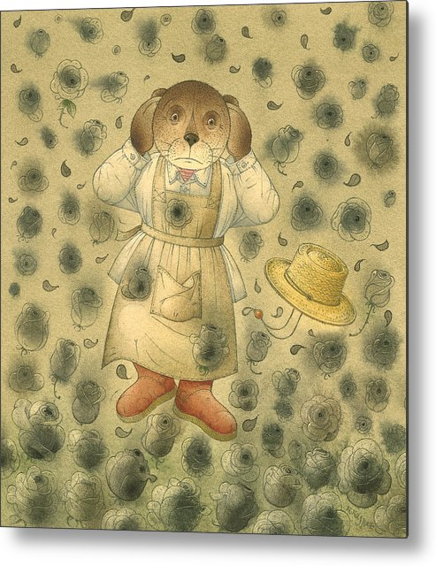 Bears Black Roses Dark Night Magic Horror Metal Print featuring the painting Florentius The Gardener21 by Kestutis Kasparavicius