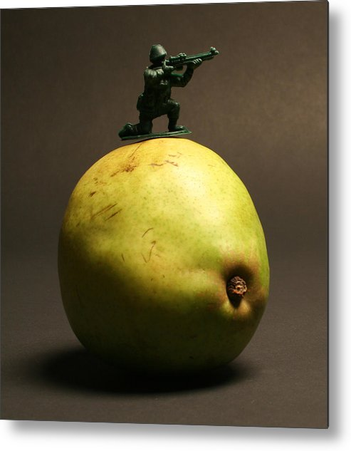 Pear Metal Print featuring the photograph Fruit Warfare by Bryan Hochman