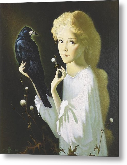Portrait Metal Print featuring the painting Girl And Bird by Andrej Vystropov