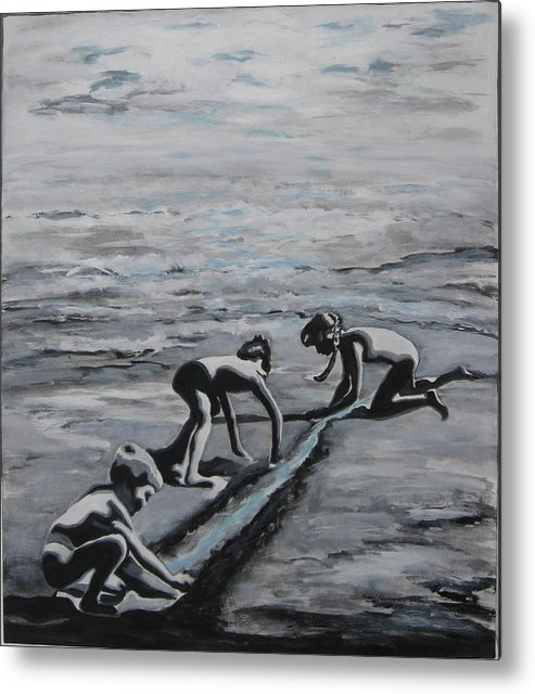 Children Playing On The Beach Metal Print featuring the painting Harnessing The Ocean by Naomi Gerrard