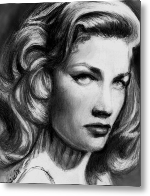 Actress Woman Metal Print featuring the drawing Lauren by Carliss Mora