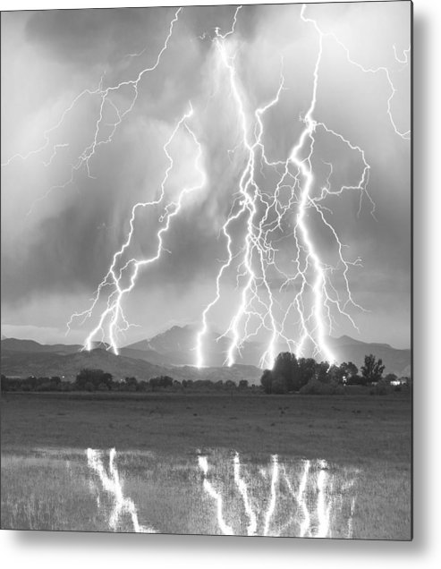 Foothills Metal Print featuring the photograph Lightning Striking Longs Peak Foothills 4cbw by James BO Insogna