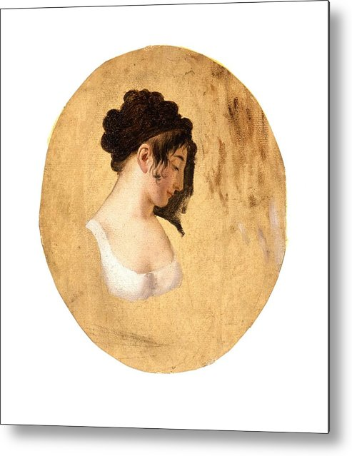 Girl Metal Print featuring the painting Louis-leopold Boilly - Profile Of A Young Womans Head by Louis-Leopold Boilly