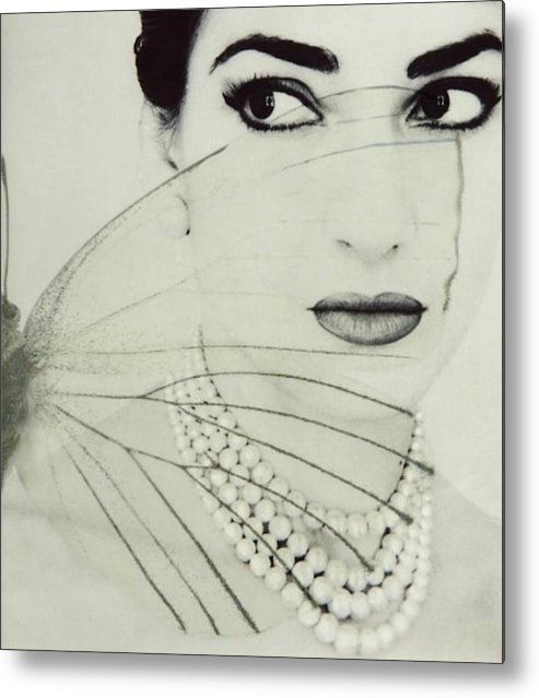 Maria Callas Metal Print featuring the digital art Madam Butterfly - Maria Callas by Paul Lovering