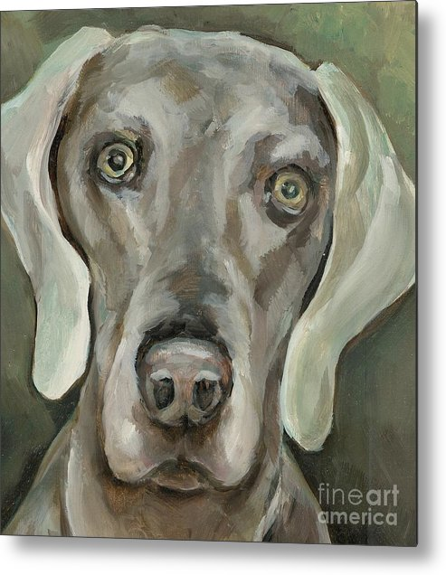Dog Metal Print featuring the painting Maddie by Linda Vespasian