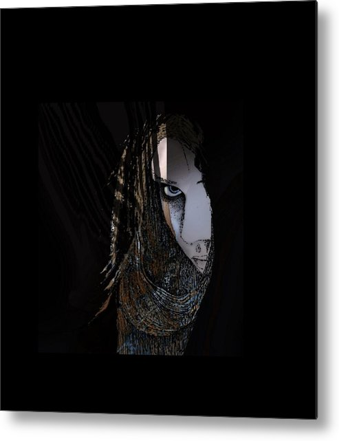 Woman Shadows Mysterious Light Portrait Lady Girl Metal Print featuring the mixed media Mysterious by Tony Kroll