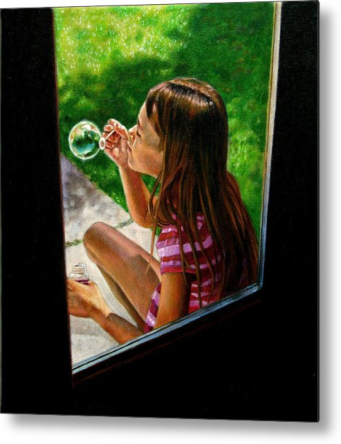 Girl Metal Print featuring the painting Sierra Blowing Bubbles by John Lautermilch